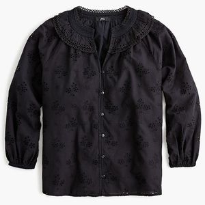 J crew black button front eyelet peasant top